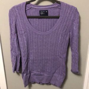 American Eagle Scoop Neck Cable Knot Sweater